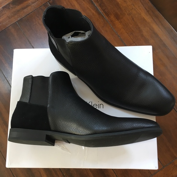26fc238114 Calvin Klein Larry-Black-Leather Ankle Boots NWT